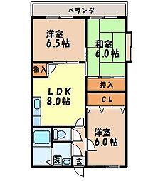 サンヒルズ吉田[201号室]の間取り