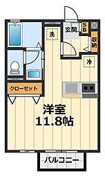 神奈川県大和市中央林間4丁目の賃貸アパートの間取り