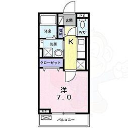 アルドゥル三条奈良2 3階1Kの間取り