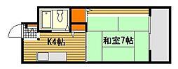 JR山陽本線 宮内串戸駅 徒歩26分の賃貸マンション 3階1Kの間取り