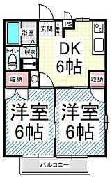 長野県長野市稲田3丁目の賃貸アパートの間取り