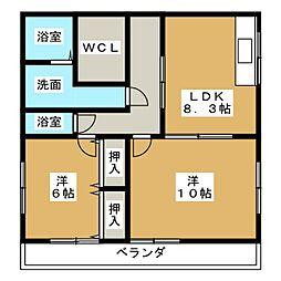 ラベンダー中田[3階]の間取り