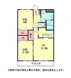 愛知県一宮市浅井町尾関字清山の賃貸アパートの間取り