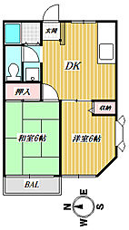飯島ハイツ[102号室]の間取り