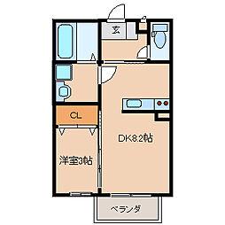 セジュール・ディア・モント 1階1DKの間取り