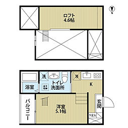 愛知県名古屋市中村区日ノ宮町5丁目の賃貸アパートの間取り