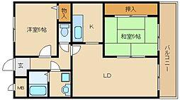 大阪府東大阪市横小路町の賃貸マンションの間取り