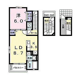 JR中央本線 竜王駅 バス5分 貢川団地入口下車 徒歩12分の賃貸アパート 3階1LDKの間取り