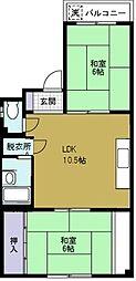 ロイヤルハイツ井村[3階]の間取り