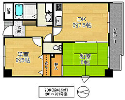 フェリーチェ深江橋 4階2DKの間取り