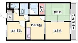 兵庫県加古川市平岡町一色東2丁目の賃貸アパートの間取り