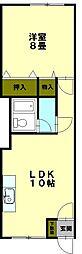 北海道小樽市新光4丁目の賃貸アパートの間取り