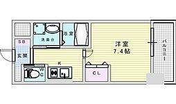 Osaka Metro御堂筋線 江坂駅 徒歩5分の賃貸マンション 6階1Kの間取り