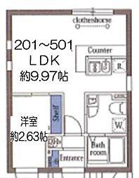 東京メトロ東西線 木場駅 徒歩8分の賃貸マンション 4階1LDKの間取り
