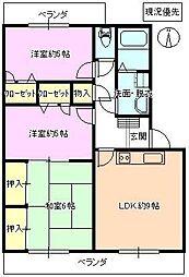 長野県長野市稲里町中央3丁目の賃貸マンションの間取り