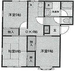 ランテルナ武庫之荘[102号室]の間取り