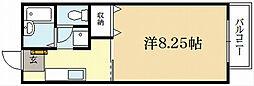 京都府京都市左京区高野西開町の賃貸アパートの間取り
