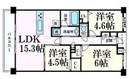 エヌヴィ六甲篠原 3階3LDKの間取り