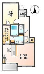 愛知県名古屋市中川区かの里1の賃貸アパートの間取り