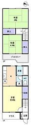 [テラスハウス] 千葉県船橋市薬円台6丁目 の賃貸【千葉県 / 船橋市】の間取り