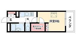 愛知県名古屋市名東区朝日が丘の賃貸アパートの間取り