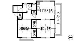 兵庫県宝塚市小林5丁目の賃貸マンションの間取り