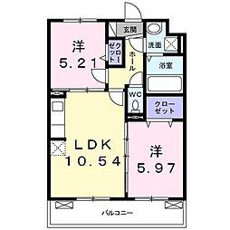 JR片町線(学研都市線) 鴻池新田駅 徒歩13分の賃貸アパート 3階2LDKの間取り