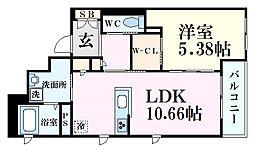 JR東海道・山陽本線 六甲道駅 徒歩9分の賃貸マンション 3階1LDKの間取り