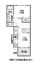 徳島県徳島市名東町1丁目の賃貸アパートの間取り