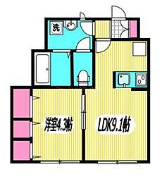 JR中央本線 三鷹駅 徒歩9分の賃貸アパート 1階1LDKの間取り