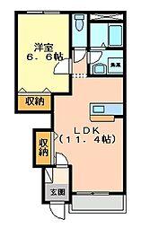 シャインヒルズ富岡[1階]の間取り