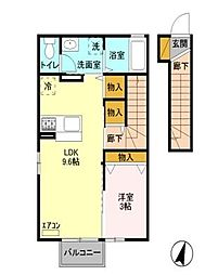 栃木県宇都宮市ゆいの杜2丁目の賃貸アパートの間取り