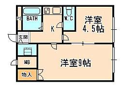 兵庫県宝塚市中筋1丁目の賃貸マンションの間取り