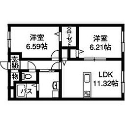新潟県新潟市江南区梅見台2丁目の賃貸マンションの間取り