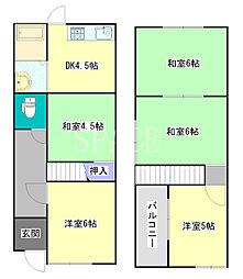 堺市東区西野戸建 2階5DKの間取り