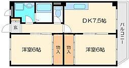 大阪府大阪市東淀川区大桐5の賃貸アパートの間取り