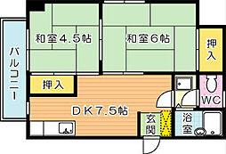 ハッピーエステートモア八幡駅前[5階]の間取り