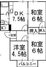 フレグランステシマA棟 2階[201号室]の間取り