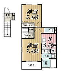 千葉県千葉市若葉区貝塚町の賃貸アパートの間取り