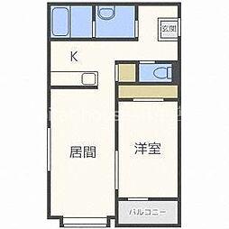 JR学園都市線 新琴似駅 徒歩2分の賃貸マンション 2階1LDKの間取り