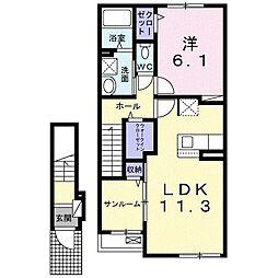 高岡町アパート(仮) 2階1LDKの間取り
