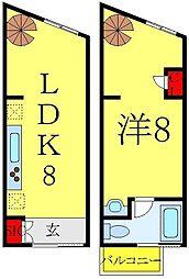 JR山手線 大塚駅 徒歩9分の賃貸マンション 2階1LDKの間取り