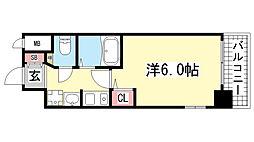 エステムコート神戸・三宮山手センティール[602号室]の間取り