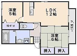 ハピネスK−C[1階]の間取り