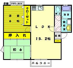 メロディビュ−ラ−Ⅱ B[1階]の間取り