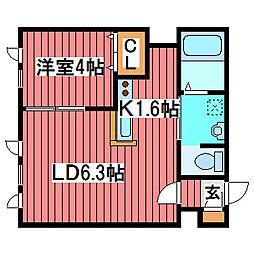 ドームキャッスル・ニッタ[1階]の間取り