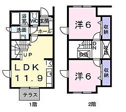 茨城県ひたちなか市大字津田の賃貸アパートの間取り