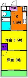 静岡県磐田市上大之郷の賃貸マンションの間取り