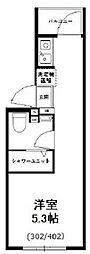 西武新宿線 野方駅 徒歩9分の賃貸マンション 3階ワンルームの間取り