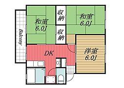 千葉県千葉市若葉区みつわ台3丁目の賃貸マンションの間取り